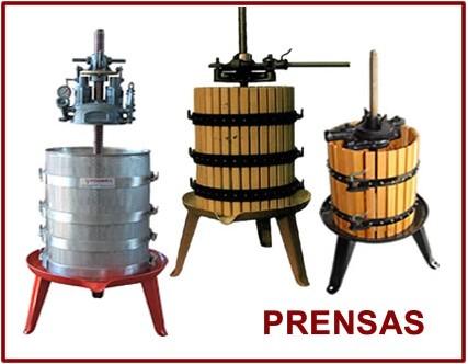 Prensas para vino de madera y Hidráulicas